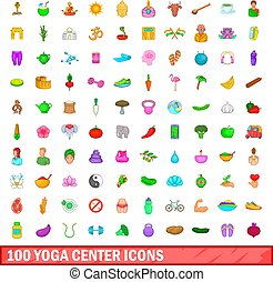 100 yoga center icons set, cartoon style