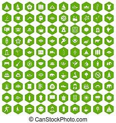 100 yoga icons hexagon green