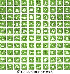 100 yoga icons set grunge green