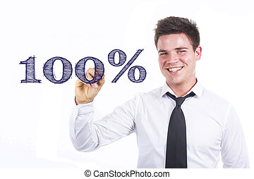 100% - Young smiling businessman writing on transparent surface