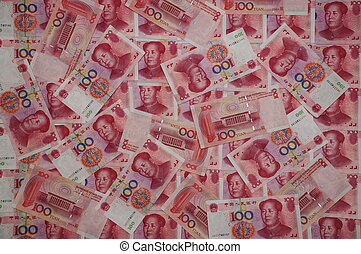 100 Yuan Chinese banknotes scartered