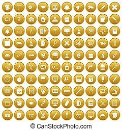 100, złoty, busola, komplet, ikony