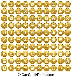 100, złoty, komplet, ikony, kalkulator