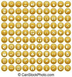 100, złoty, komplet, technologia, radiowy, ikony
