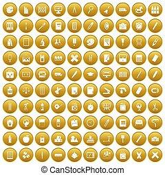 100, złoty, materiały piśmienne, komplet, ikony