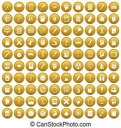 100, złoty, nauka, komplet, ikony