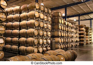 1,000 barrels - ton of barrels in a wine cellar