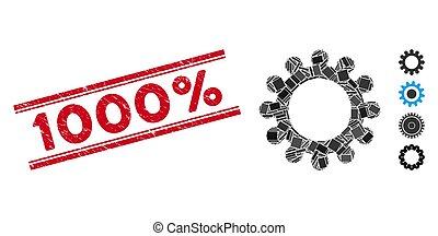 1000%, dente, mosaico, sigillo, afflizione, linee