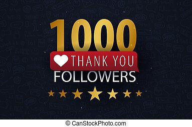 1000 Followers illustration with thank you on a button. Vector illustration