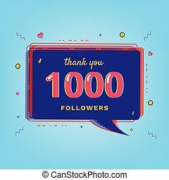 1000 Followers thank you banner. Vector illustration.