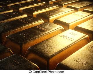 1000, grama, barras ouro