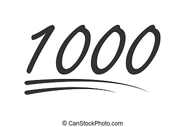 1000 - hundred number vector icon. Symbol isolated on white background