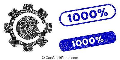 1000%, ingranaggio, direzione, collage, rotazione, textured, sigilli, rettangolo