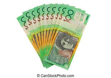 $1000, isolato, valuta, dollari australiani, bianco