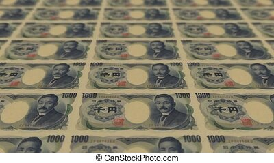 1000 japan yen,Printing Money Animation.