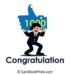 1000 like with congratulation. Social networks