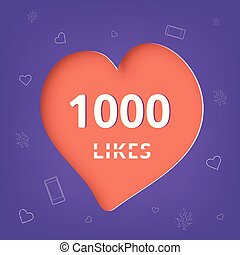 1000 likes thank you post. Vector illustration.
