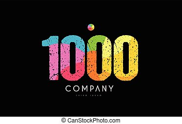 1000 number grunge color rainbow numeral digit logo