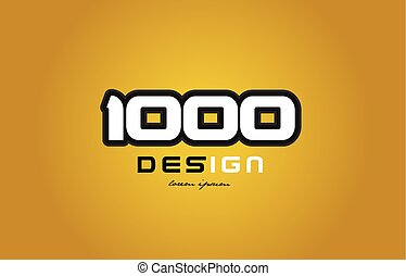 1000 number numeral digit white on yellow background