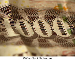 One Thousand banknote, closeup. Danish money, kroner (kr or DKK)