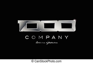 1000 silver metal number company design logo