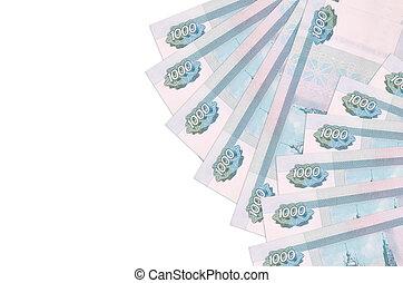 1000, space., riche, factures, isolé, copie, vie, fond, rubles, russe, blanc, mensonges, conceptuel