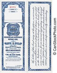 $1000, tysiąc, dolar, popędzać, obligacja, na białym, 1900