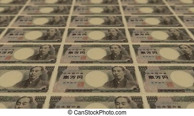 10000 japanese yen, Printing Money Animation.