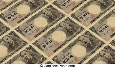 10000 japanese yen, Printing Money Animation.