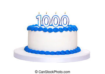 Birthday cake with candles reading 1000