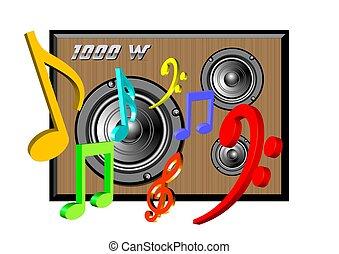 1000w, sistema, áudio