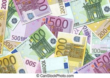 100, 200, 500 Euro notes background texture - mingled pile