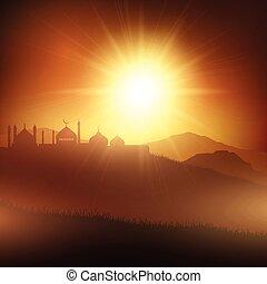 1005, mosquées, coucher soleil, ramadan, fond