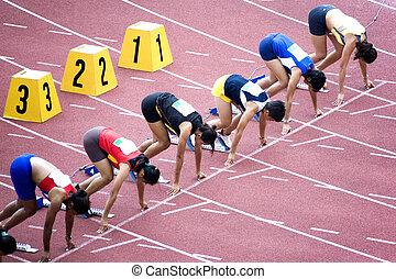 100m, obstáculos, mulheres