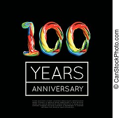 100th Anniversary, congratulation for company or person on black background