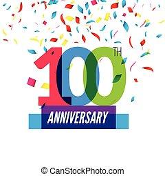 100th, colorito, anniversario, ricoprendo, anniversary., disegno, coriandoli, icona, design.