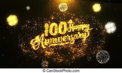 100th Happy Anniversary Text Greeting, Wishes, Celebration, invitation.