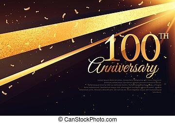 100th, kártya, évforduló, sablon, ünneplés