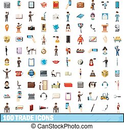 100trade icons set, cartoon style
