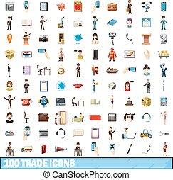 100trade icons set, cartoon style