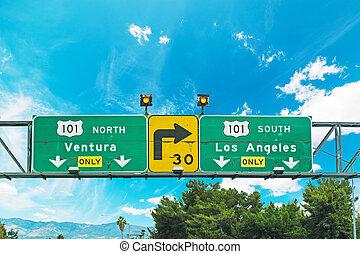 101 freeway crossroad sign in Los Angeles