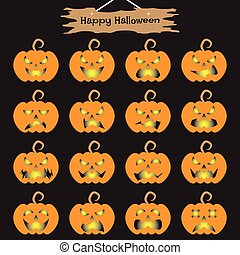 101., halloween, -, o'lantern, cric, heureux