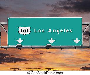 101, motorvej, los angeles, solopgang, himmel