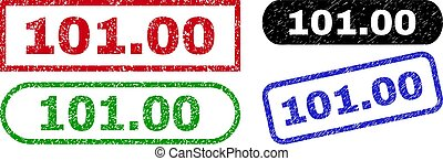 101.00 grunge seal stamps. Flat vector grunge seal stamps with 101.00 title inside different rectangle and rounded forms, in blue, red, green, black color variants. Imprints with corroded texture.