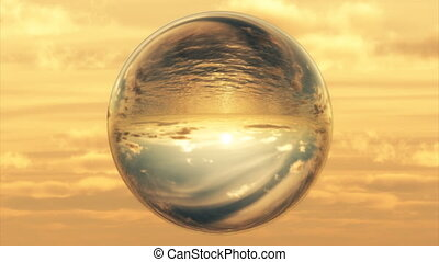 (1027) Sunset Ocean World in Crystal Ball - A world in...