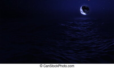 (1029) Blue Moon Ocean Waves Eclipse - Blue Moon Ocean Waves...