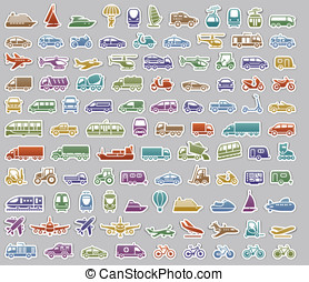 104 Transport icons set retro stickers