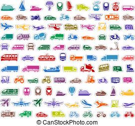 104 Transport icons set stickers