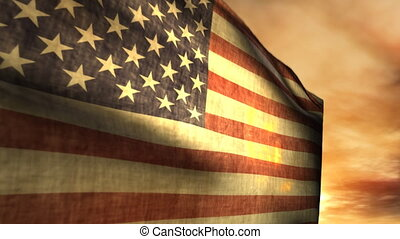 (1040) Blowing American Flag Sunset - Nice animation of a...