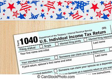 1040 forma, federal, imposto, nós, renda